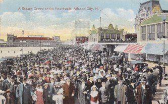 A season crowd on the boardwalk, Atlantic City, NJ