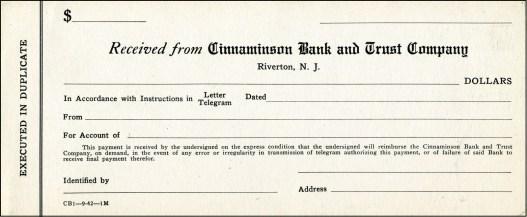 Cinnaminson Bank form