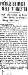 1906-06-26, Philadelphia Inquirer, pg 1, postmaster Mattis arrested,