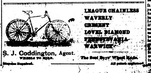 Coddington bicycle ad, New Era, July 21, 1894