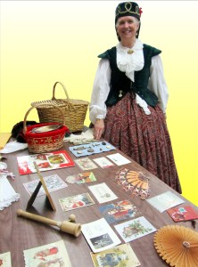 Ms. Estes illustrates her talks with plenty of visual aids, not the least of which is her authentic outfit.