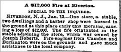 Robert's Store fire. Philadelphia Inquirer, 1890-01-13, p1