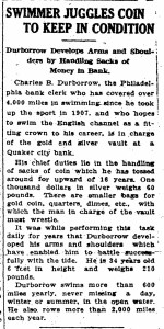 Durborow juggles coin, October 10, 1916, Rockford Morning Star, p9