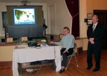 John McCormick at projector, John Laverty standing