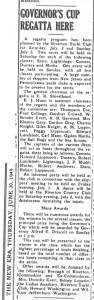 Governor's Cup Regatta here, New Era, June 30, 1949, p.1.