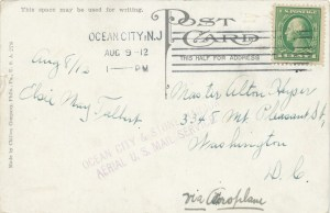 Postcard with handwritten notation VIA AEROPLANE