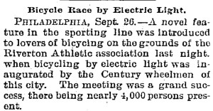 Bicycle race by electric light, September 26, 1894, Trenton Evening Times New Jersey, Page 7