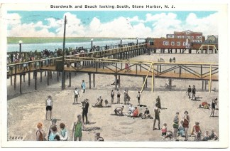 Boardwalk and beach looking south, Stone Harbor, NJ