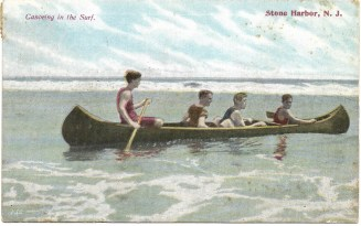 Canoeing in the surf, Stone Harbor, NJ