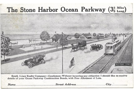 Picture side of postcard showing Ocean Parkway and vehicles along with space provided for interested party to write their name and mailing address