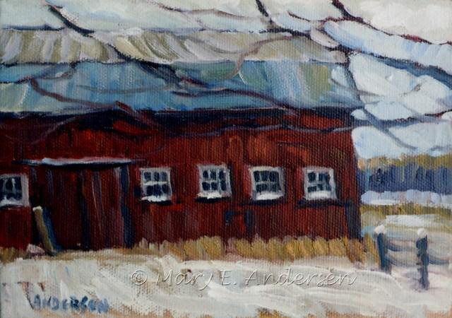 Barn Near Kalamazoo. Oil on canvas, 5x7. 2009. SOLD.