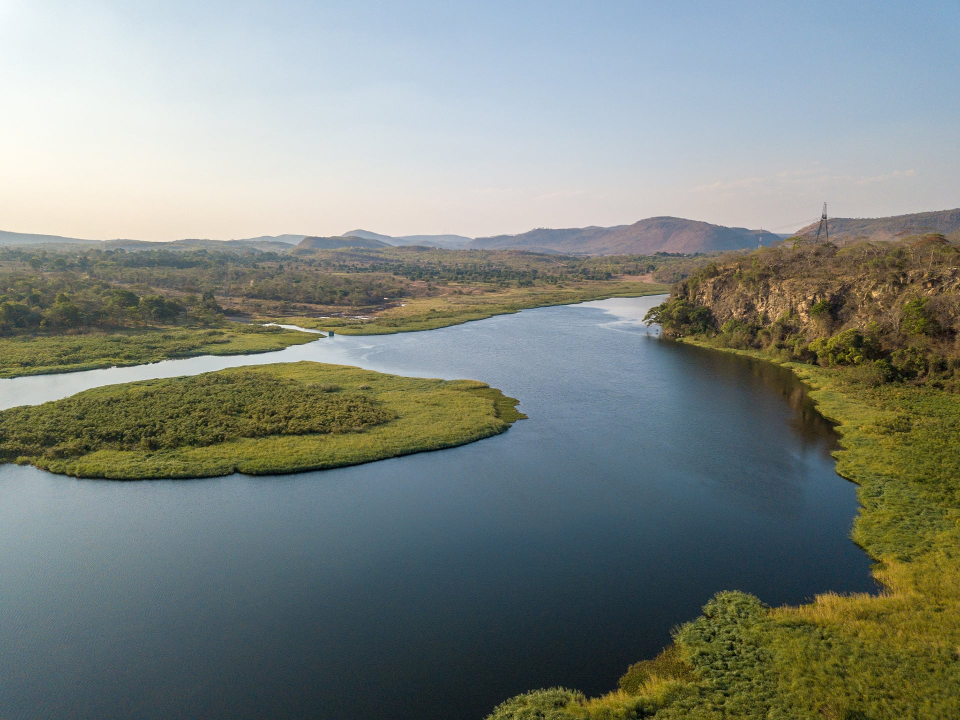 Aerial view of Kafue River