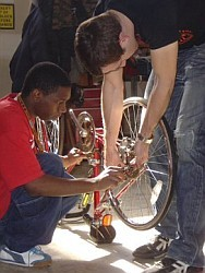 Kids at the Holton Youth Center met up in 2006 with Velo Trocadero, Alterra Mountain Bike Team, and Mario Costantini to learn how to fix bikes.