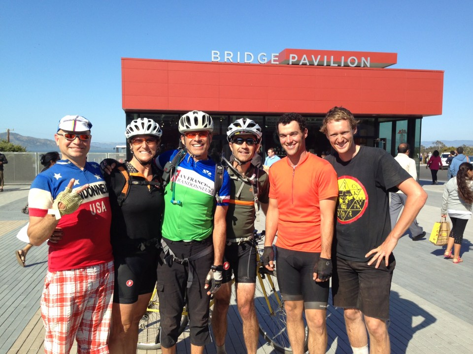Early LRLR training ride, L2R: Potis, me, Carlos, Metin, Brian, Eric.  photo: D. Banks