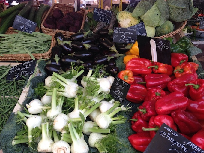 Fresh Mediterranean vegetables at market