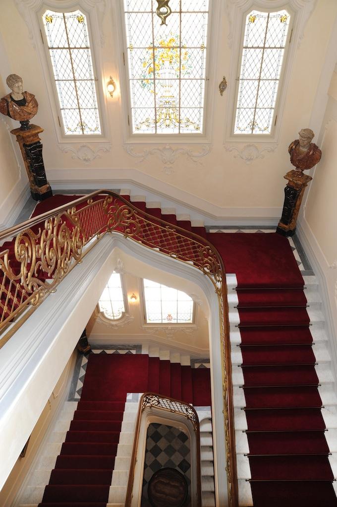 Ornate staircase in the Villa Regina Margherita