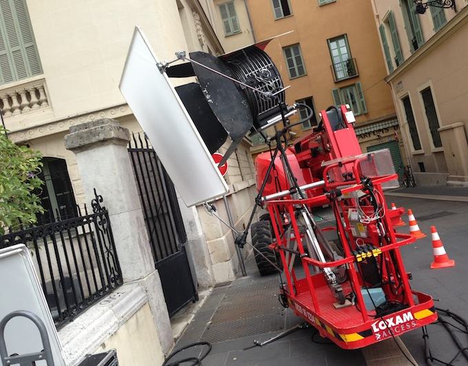 Equipment on set for filming of Le Roux movie in Nice