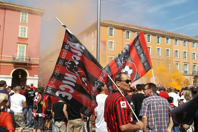 OGC Nice supporters before the last home match in Stade du Ray