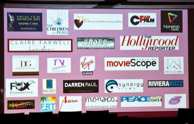 The sponsors and partners of the 2013 Angel Film Awards 2013 in Monaco