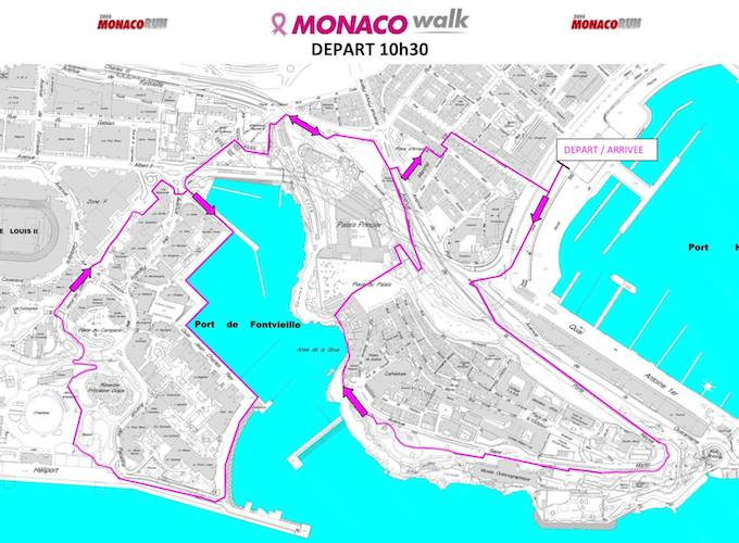 Route for 2014 Pink Ribbon Monaco Walk