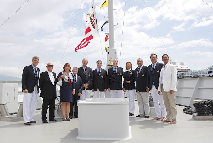 Guests and dignataries at M/V Yersin blessing Monaco June 2015