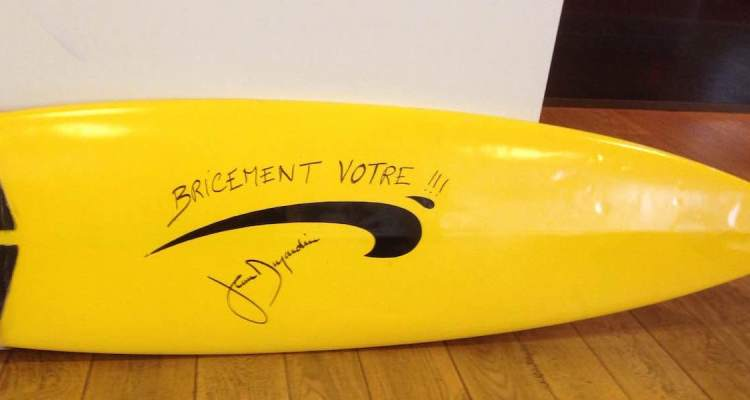 Brice de Nice surfboard up for auction in Cannes
