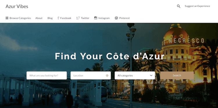 Azur Vibes homepage