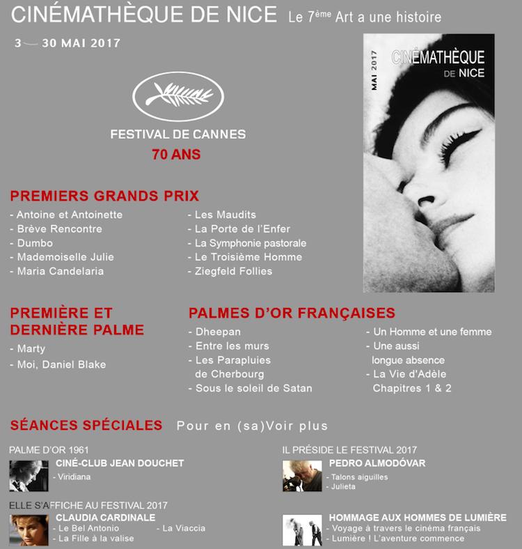 Cinémathèque de Nice May 2017 programme