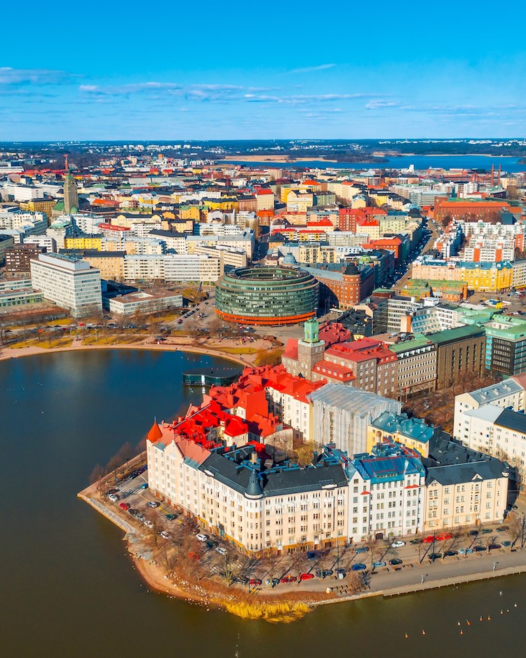 Aerial view of Helsinki by Omar El Mrabt