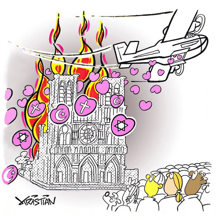 Notre Dame cartoon by Kristian