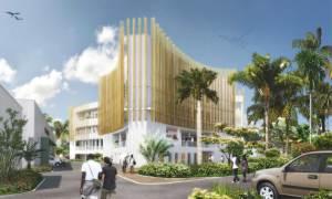Vue d'architecte du nouvel hôtel de ville de Rivière-Salée en Martinique