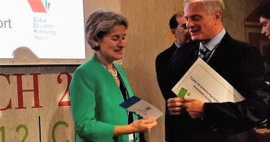 WEEC Secretary-General Mario Salomone and UNESCO Director-General Irina Bokova at COP22 5 2
