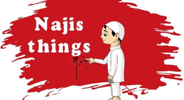 A child touches blood which is one of najis things
