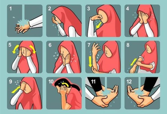 A picture illustrates how to perform wudu step by step