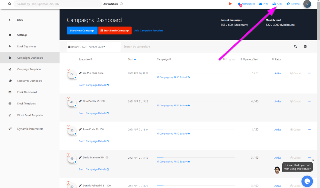 Step 1. Select CRM In the top RIGHT