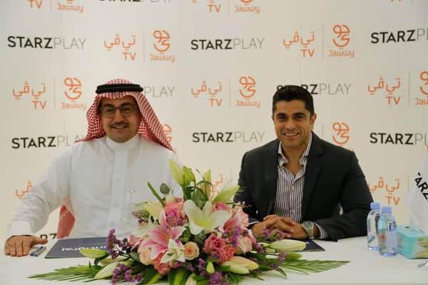 STARZ PLAY CEO Maaz Sheikh with Mr. Hamoud Al Rumayan, CEO of intigral