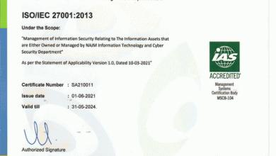 نجم لخدمات التأمين تحصل على شهادة آيزو ISO 27001:2013 لإدارة أمن المعلومات