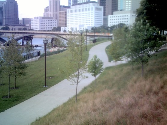 Part of the bike trail along the Scioto Mile in Columbus, OH. Yes, I know the right side's a bit blurry; I think it had something to do with the camera I was using at the time.
