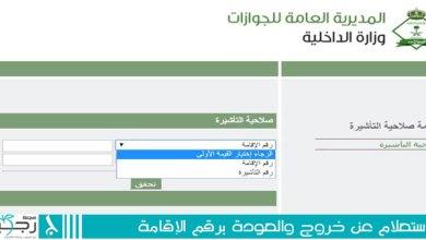 Photo of الاستعلام عن خروج والعودة برقم الإقامة
