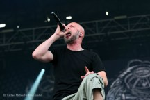 """""""Meshuggah vocalist Jens Kidman and guitarist Mårten Hagström perform at Chicago Open Air music festival on Friday, July 14, 2016 at Toyota Park in Bridgeview, Ill. Photo by Rachael Mattice/For Metal Insider."""""""