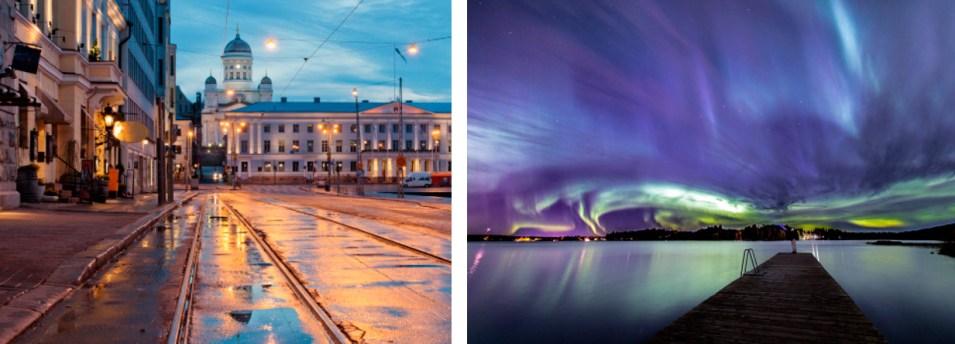 Хельсинки после дождя и северное сияние