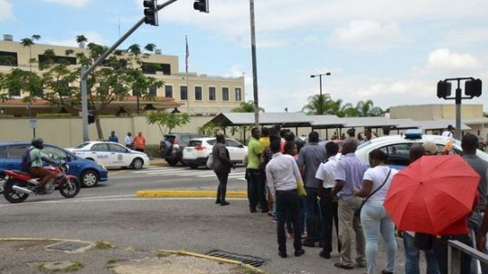 Image result for lines at the us embassy in jamaica