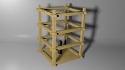 Oriental Lantern Frame Model - Textured 3D Render