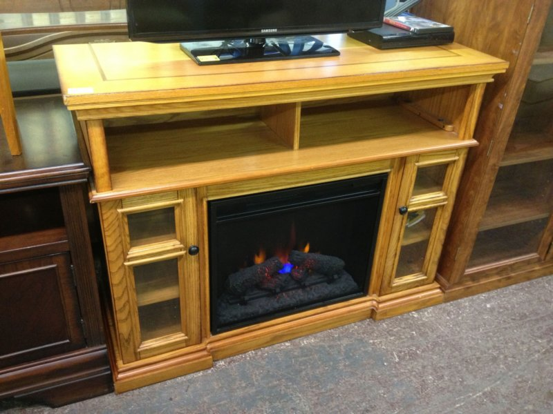 Low-profile Media Cabinet With Fireplace