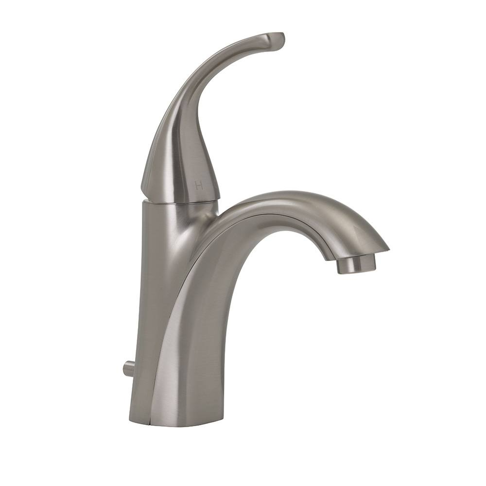 brushed nickel single handle bathroom faucet with pop up single hole