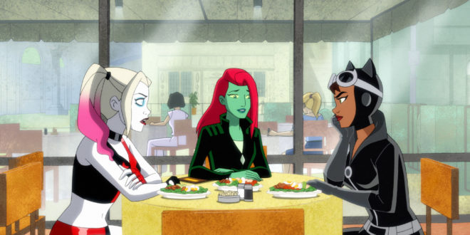 "Harley Quinn, Poison Ivy, and Catwoman meet in Harley Quinn episode ""Trapped"""