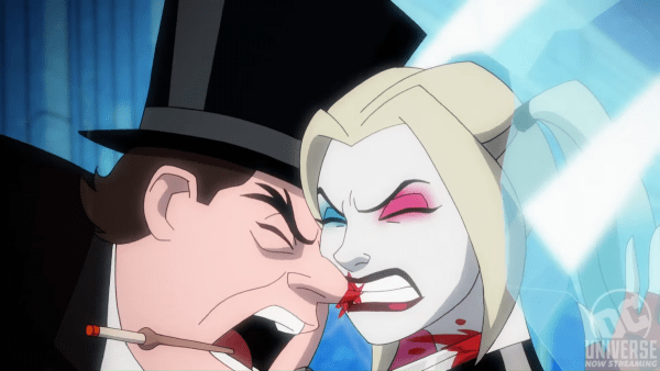 Harley Quinn in New Gotham biting off Penguin's nose