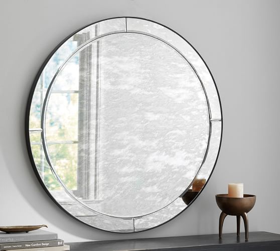 Walker Antiqued Round Glass Mirror Pottery Barn