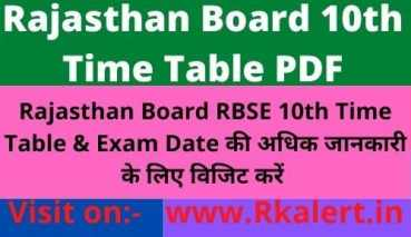 RBSE 10th Time Table 2021, Rajasthan Board 10th Date Sheet