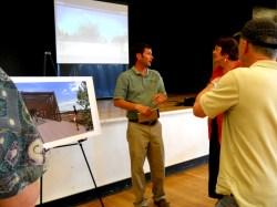 Chris Gensic, C'ville Parks & Recreation, answering questions about trail bridge